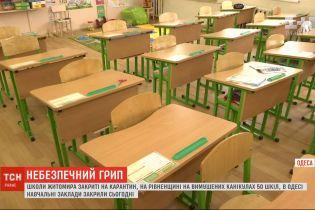 У різних регіонах України через грип та ГРВІ закривають школи