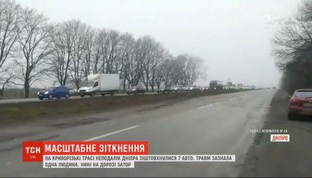 Пробка на несколько километров: на въезде в Днепр произошла массовая авария