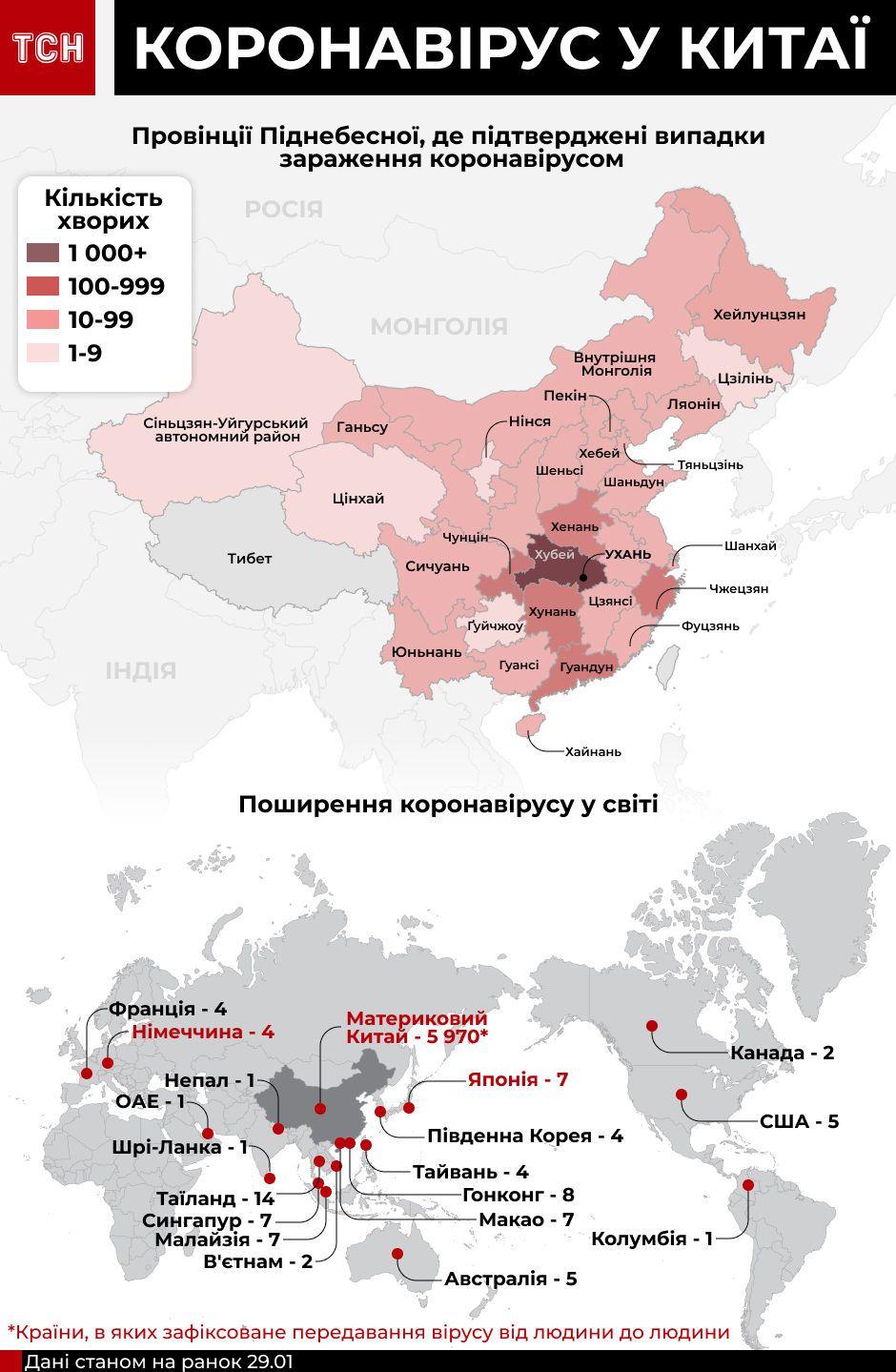 Поширення в світі китайського коронавірусу, інфографіка 29 січня
