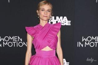 В платье цвета фуксии и со странной прической: Диана Крюгер на показе фильма в Нью-Йорке