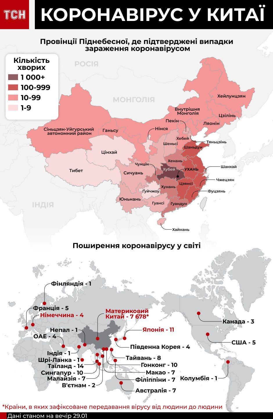Поширення у світі китайського коронавірсу станом на 30 січня