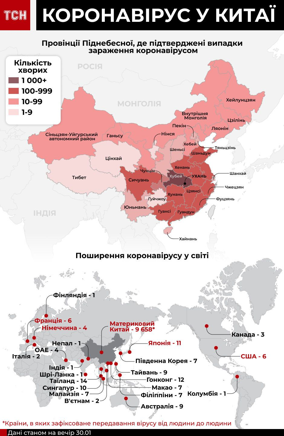 Коронавірус. Географія поширення станом на 31 січня