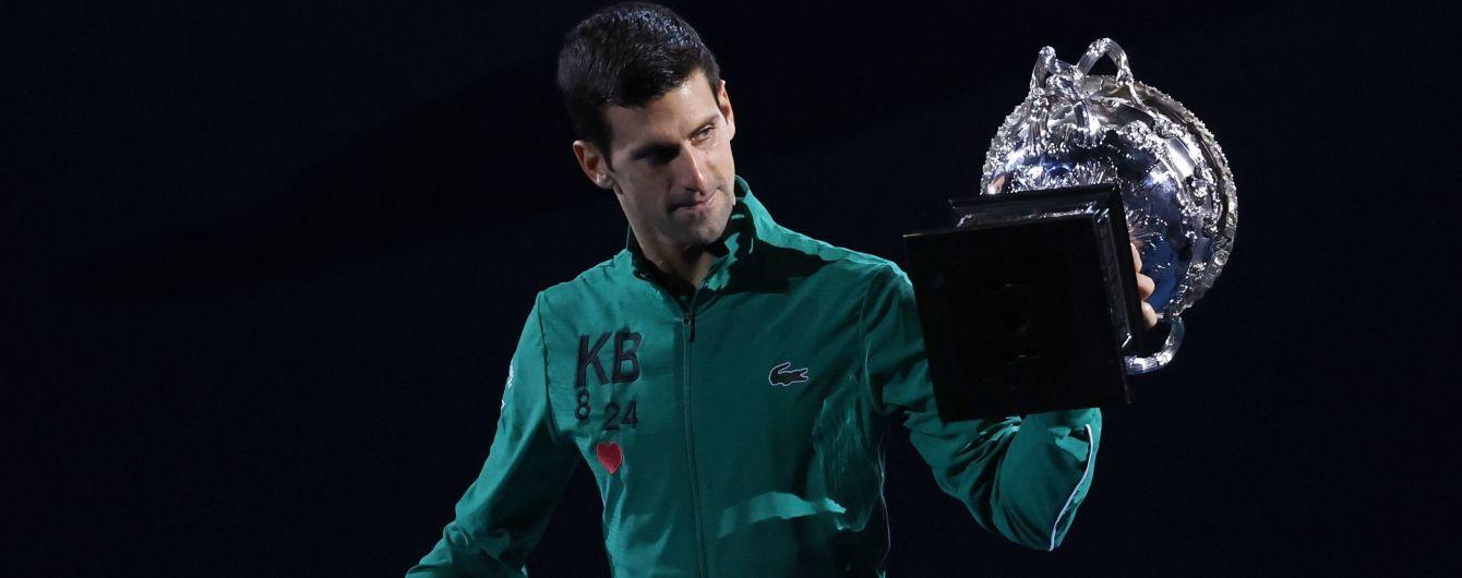 Лучший теннисист планеты почтил память погибшего Коби Брайанта после победы на Australian Open