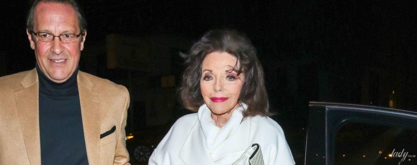 С насыщенными стрелками и яркими губами: 86-летняя Джоан Коллинз была запечатлена папарацци