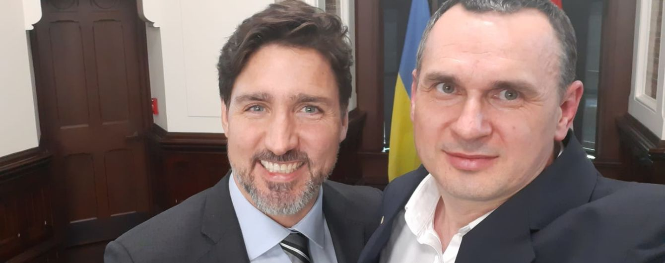 Олег Сенцов встретился с премьером Канады Джастином Трюдо и сделал с ним селфи