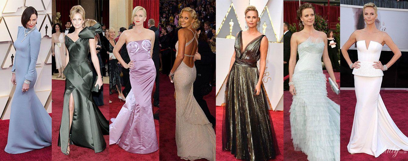 """Віддає перевагу Dior і голій спині: в яких сукнях Шарліз Терон ходить на """"Оскар"""""""
