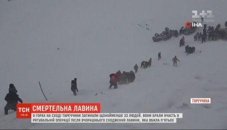 Через сходження лавини у горах Туреччини загинули 33 людей, які брали участь у рятувальній операції
