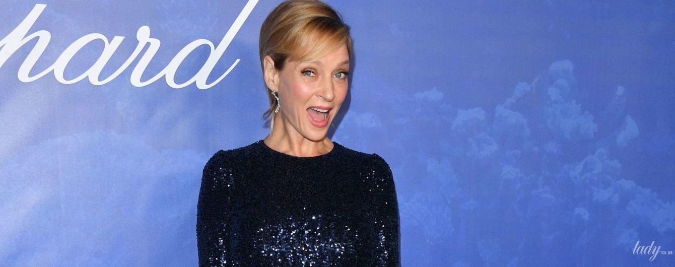 В блестящем вечернем платье и в компании князя Монако: Ума Турман на вечеринке в Беверли-Хиллз
