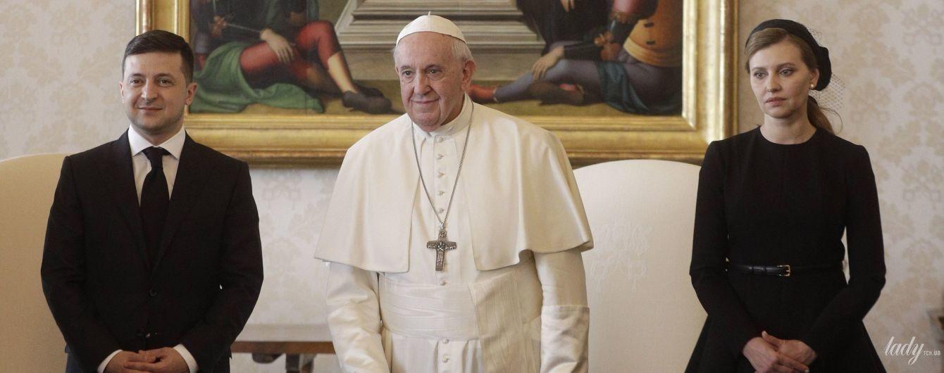 Уместно и элегантно: образ Елены Зеленской на встрече с Папой Римским.