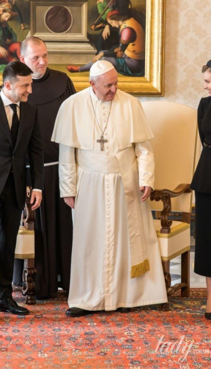 Володимир Зеленський і Олена Зеленська на прийомі у Папи Римського Франциска