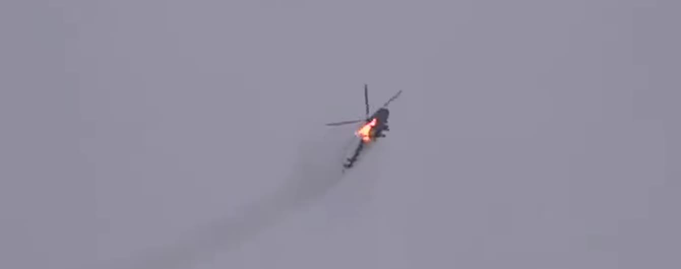 Очевидці зняли на відео збиття гелікоптера Мі-24 у Сирії