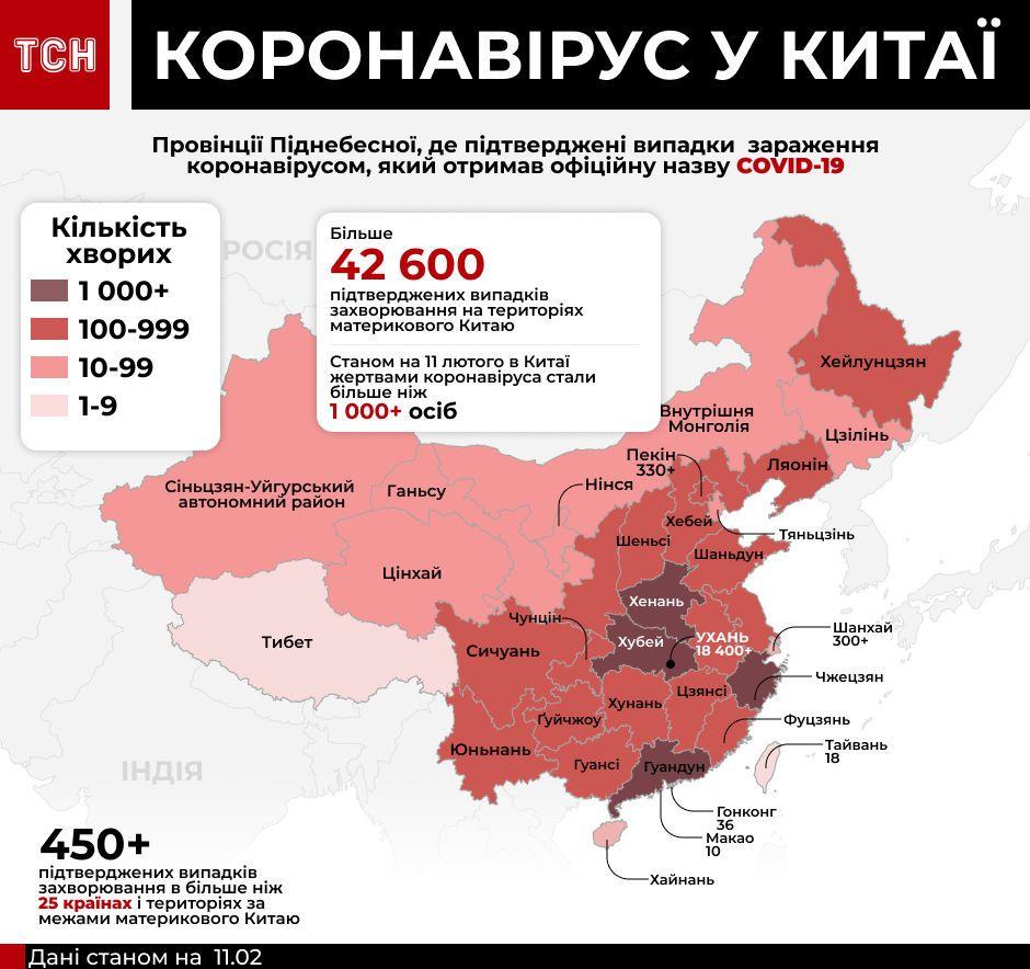 коронавірус у світі, дані на 11 лютого інфографіка