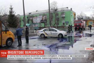 Фиолетовые лужи в центре Шостки напугали местных