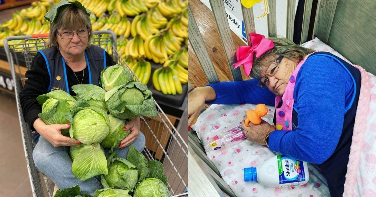 Работница-шутница делает вирусные снимки для Walmart: фотографируется в капусте и позирует в шинах