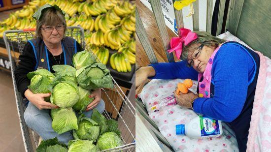 Працівниця-жартівниця робить вірусні знімки для Walmart: фотографується в капусті і позує у шинах