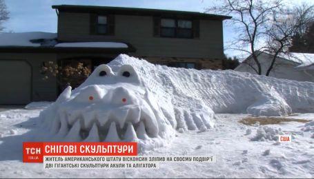 Американець зліпив зі снігу гігантські скульптури алігатора та акули на своєму подвір'ї