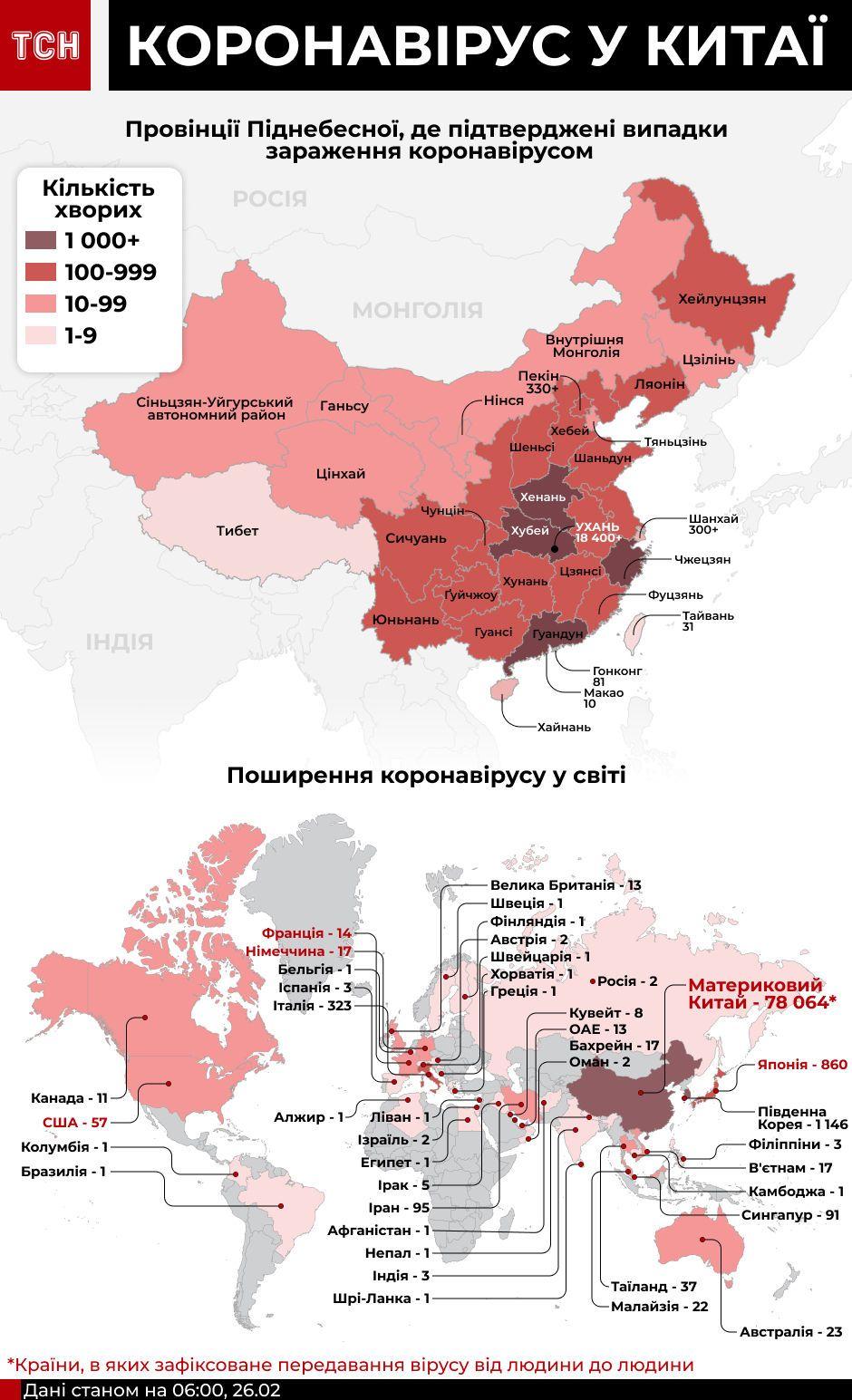 Спалах коронавірусу у світі станом на 26 лютого