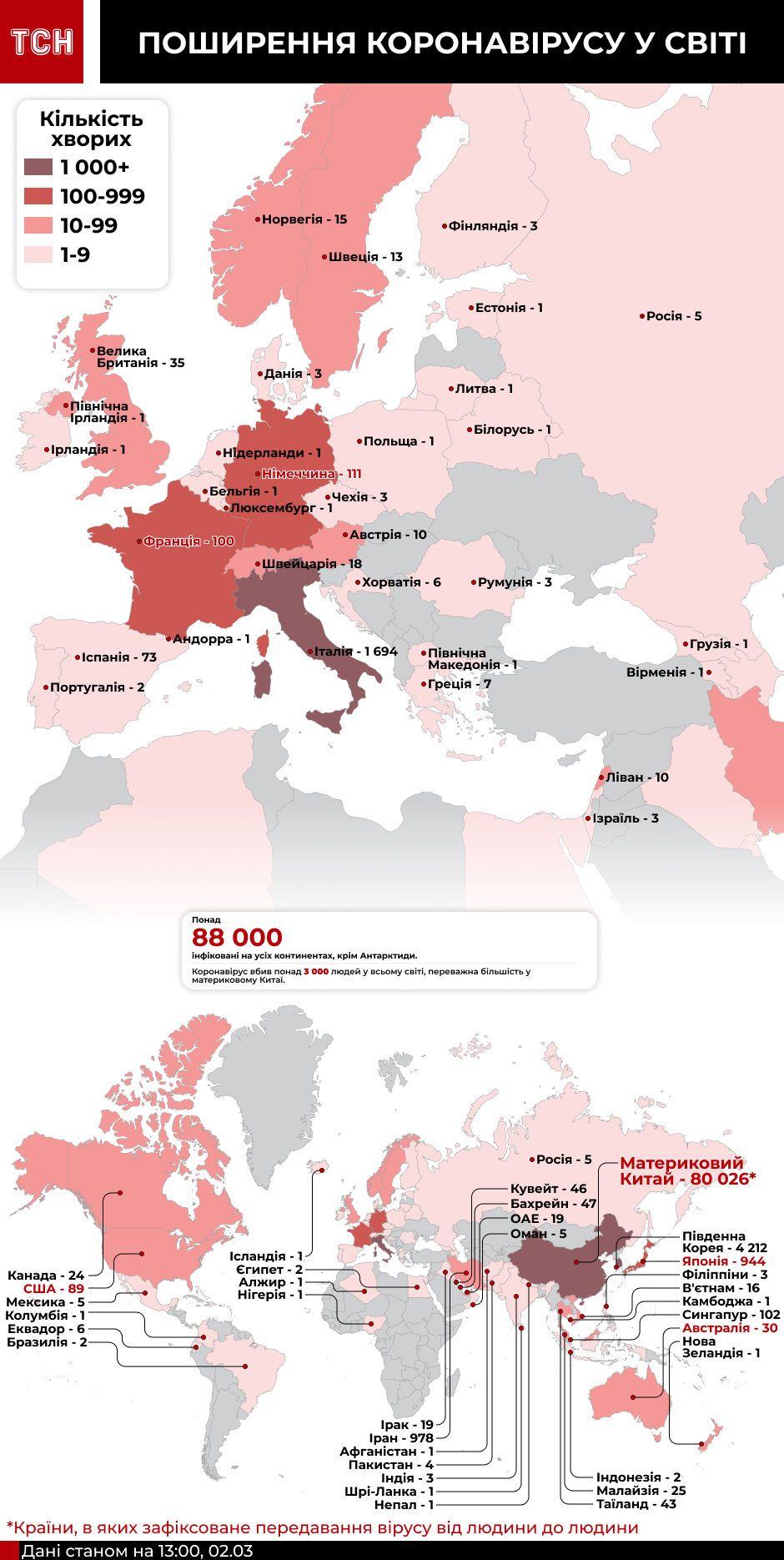 Карта коронавірусу станом на 13:45 2 березня
