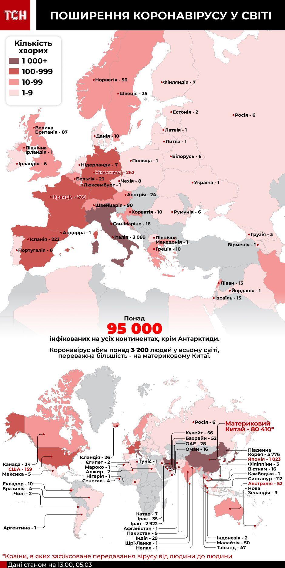 Карта поширення коронавірусу станом на 13:00 5 березня