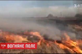 10 гектарів полів горять у Чернігівській області: підозрюють необережне поводження з вогнем