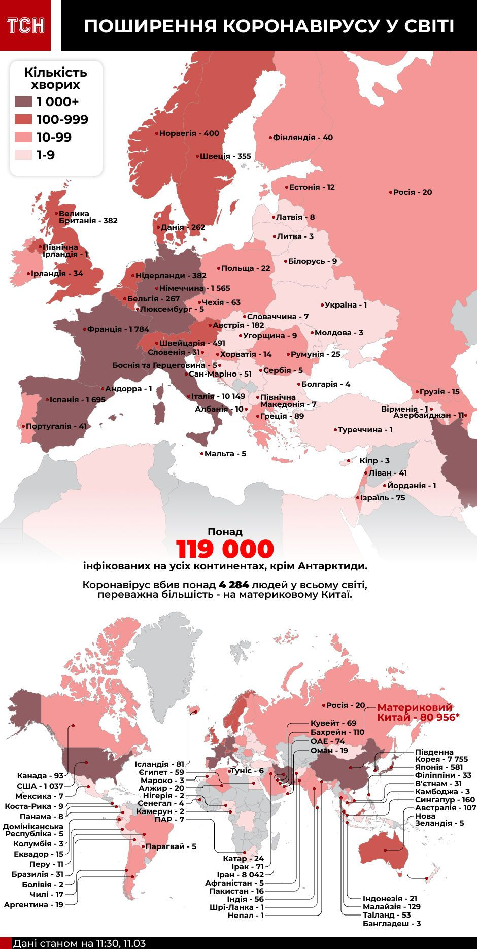 Карта коронавірусу станом на 11 березня 10:00