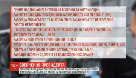 Головні тези звернення президента щодо нових обмежень на час карантину у столиці