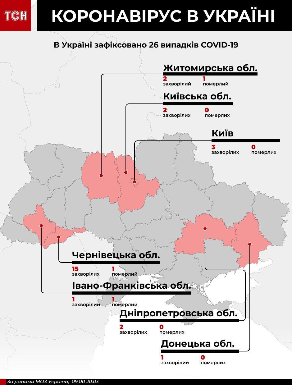 Коронавірус в Україні. Карта поширення станом на 20 березня 9:00