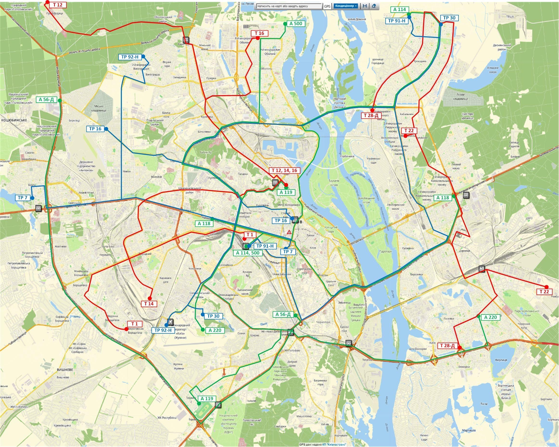 схема руху транспорту в Києві під час карантину