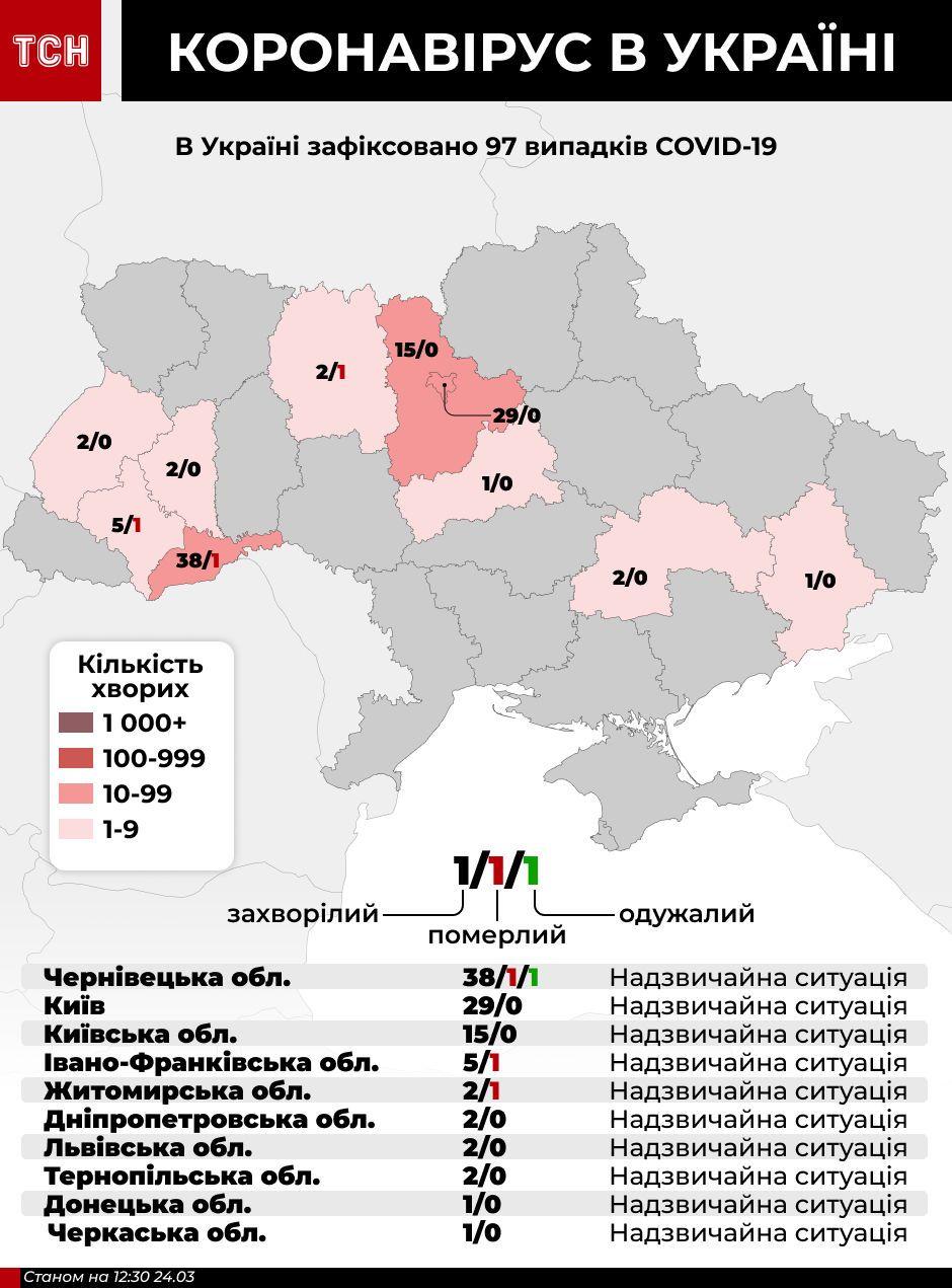 Мапа коронавірус в Україні, 24 березня, МОЗ та ОДА, інфографіка