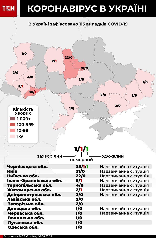 Коронавірус в Україні, мапа, 25 березня, інфографіка