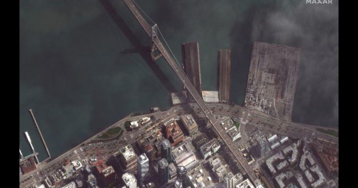 """Мост """"Золотые ворота"""" в Сан Франциско. 16 марта 2020 @ Satellite image © 2020 Maxar Technologies"""