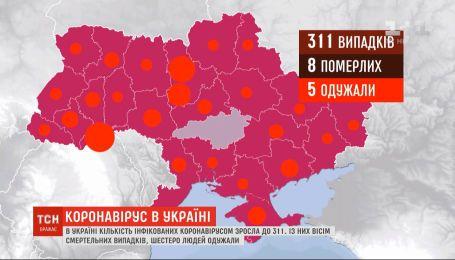 В Украине количество инфицированных коронавирусом возросло до 311