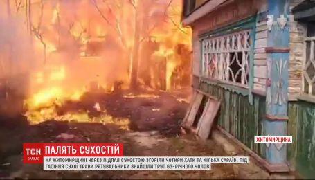 В ряде регионов Украины в результате поджога сухой травы погибли люди и сгорели дома