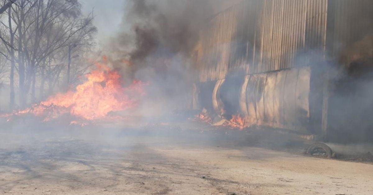 В Броварах огонь от горящих торфяников перекинулся на овощной склад