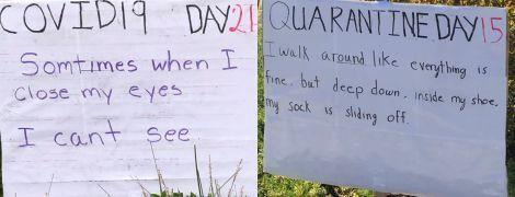 Американец ежедневно смешит соседей плакатами с шутками отца на карантине