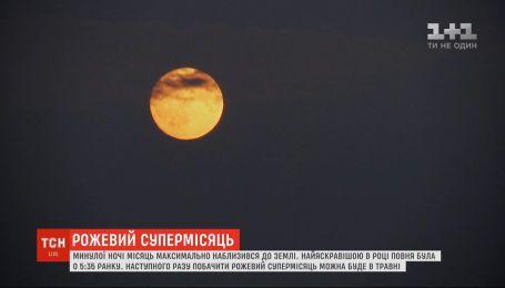 Ночью украинцы могли видеть уникальное явление - розовую Суперлуну