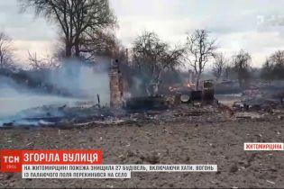 У Житомирській області вогонь перекинувся з поля на село і знищив 27 будівель