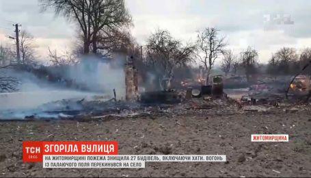 В Житомирской области огонь перекинулся с поля на село и уничтожил 27 зданий