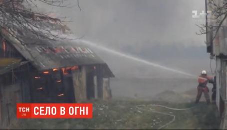 32 спалені будівлі і рятувальник в реанімації: вітер перекинув вогонь з трави на село Житомирської області