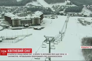Снег в апреле: в Карпатах утром выпал снег - его слой достигает 10 сантиметров