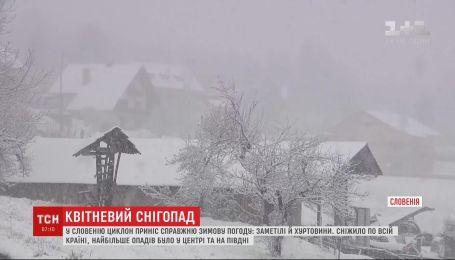 Весенняя непогода: в Словении циклон принес метели и вьюги