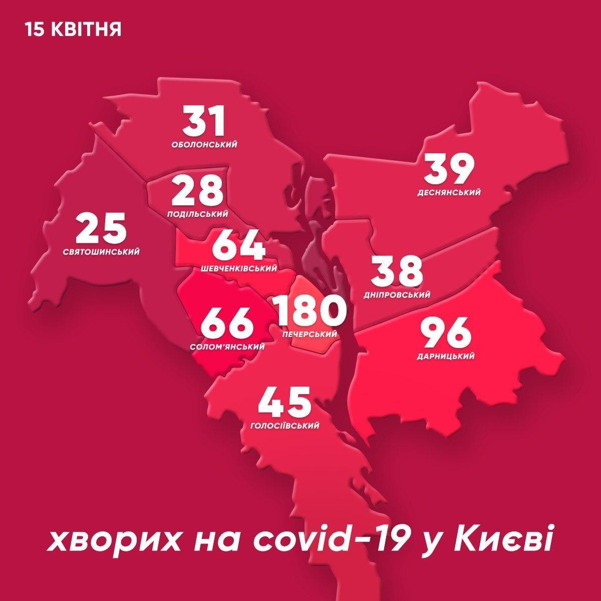 Коронавірус у Києві. Мапа районів столиці станом на 15 квітня