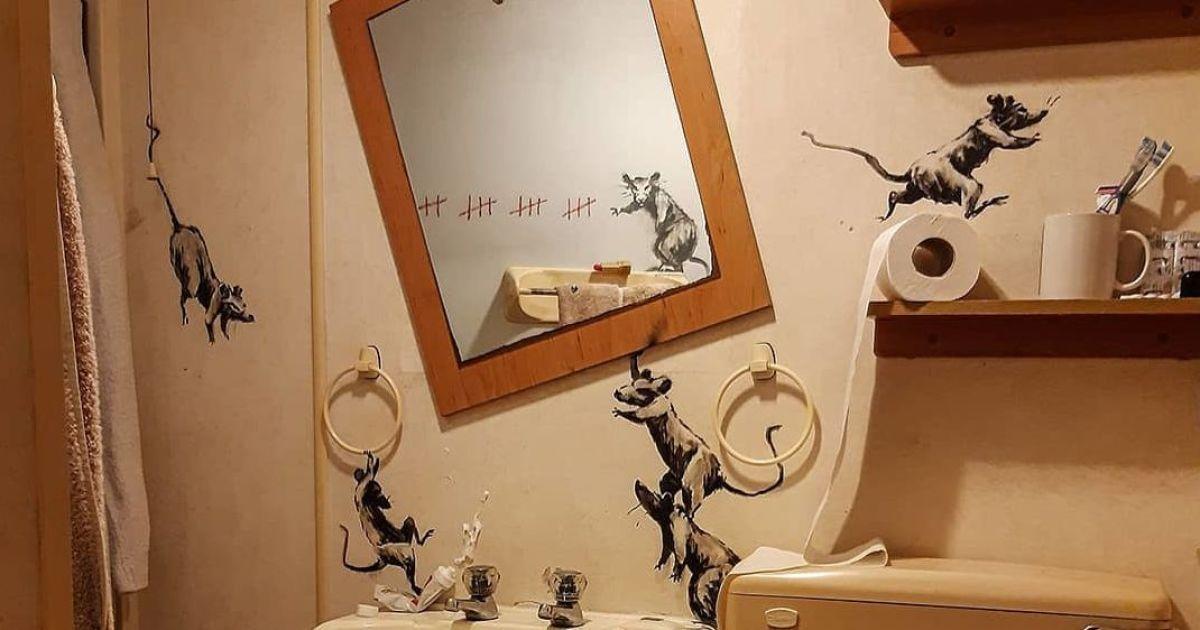 """Бэнкси показал новую """"коронавирусную"""" работу: из-за каратина рисовать пришлось в собственной ванной"""