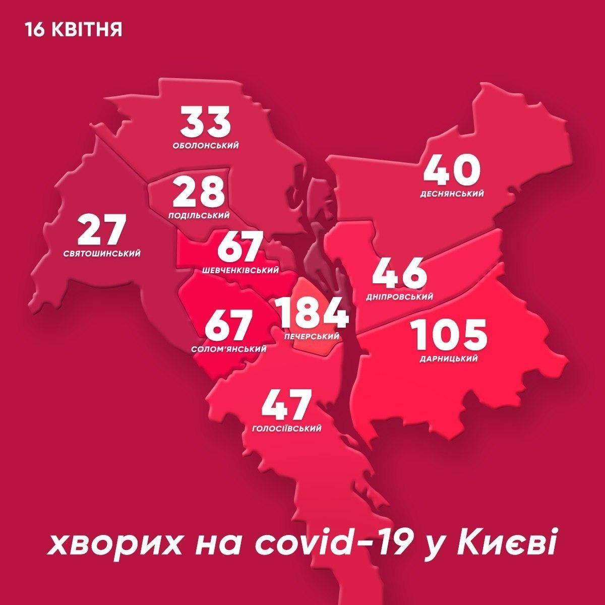 Коронавіурс у Києві. Мапа районів столиці станом на 16 квітня