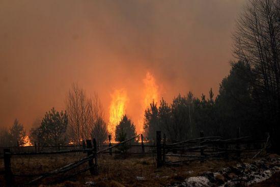 Місцеві мешканці в Овруцькомурайон показують фото знищених вогнем сіл