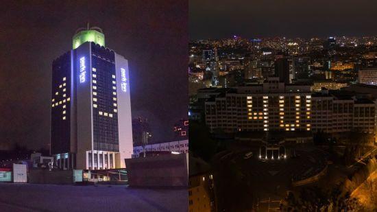 Київські готелі засвітилися на підтримку міст із зараженими коронавірусом