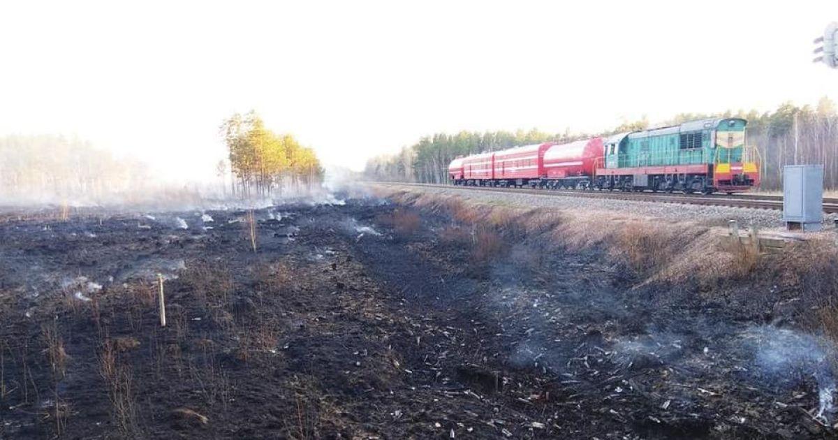 """Пожары в Житомирской области: для укрощения огня привлекли поезд """"Укрзализныци"""""""