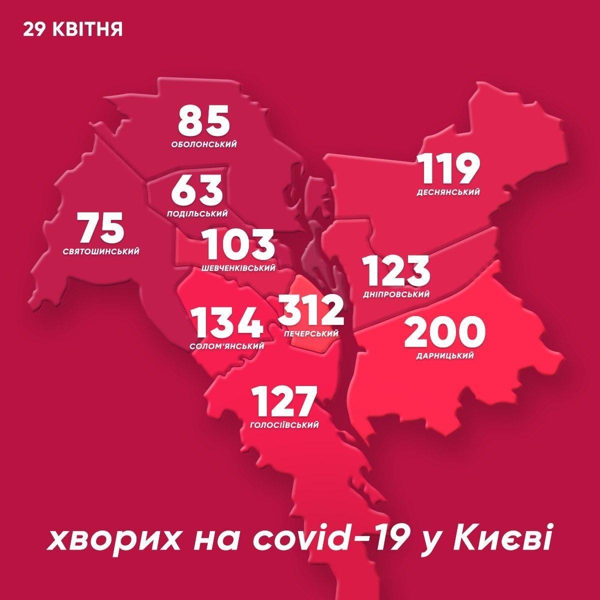 Мапа інфікованого Києва станом на 29 квітня. Коронавірус у Києві