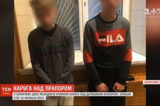 Двое парней совершили надругательство над государственным флагом в Запорожье