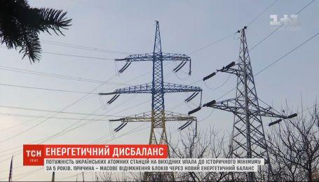 Потужність українських АЕС упала до історичного за 5 років мінімуму